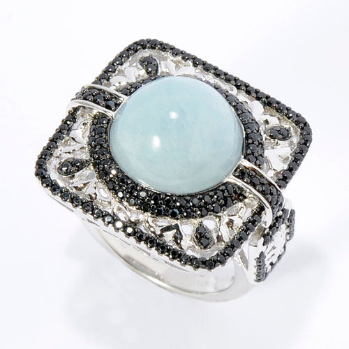 Pinctore SS/ 8.3ctw Milky Aquamarine & Black Spinel Square Halo Cocktail Ring - pinctore