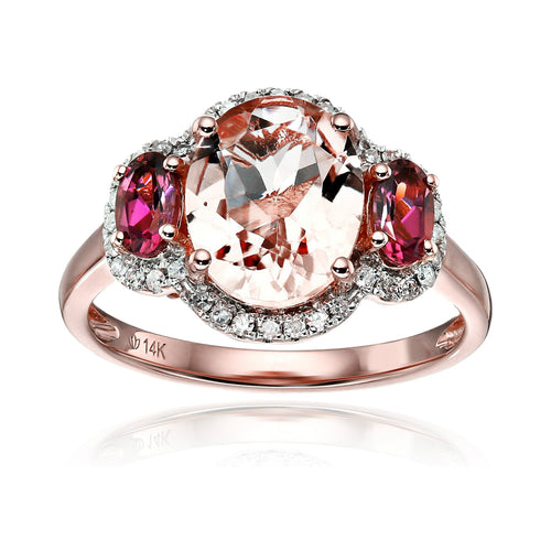 14k Rose Gold Morganite, Pink Tourmaline and Diamond 3-Stone Halo Engagement Ring (1/6cttw, H-I Color, I1-I2 Clarity), - pinctore