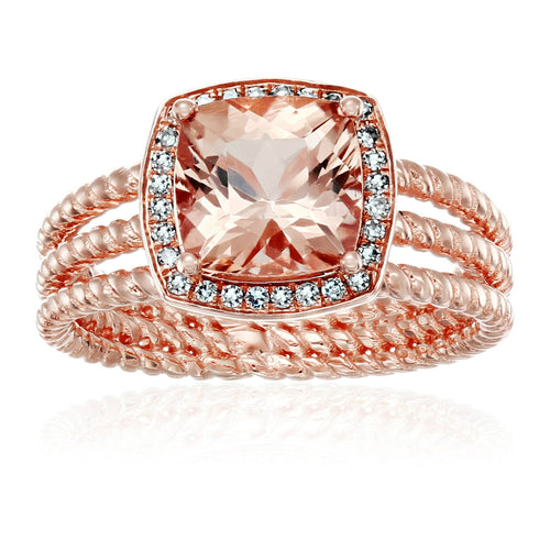 10k Rose Gold AAA Morganite And Diamond Cushion Halo Engagement Ring (1/10cttw, H-I Color, I1-I2 Clarity), - pinctore