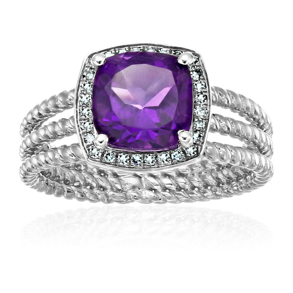 Pinctore Sterling Silver African Amethyst And Created White Sapphire Cushion Halo Engagement Ring - pinctore