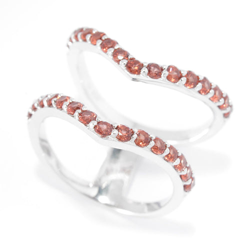 Pinctore Sterling Silver Two-Row Split 1.32ctw Red Garnet Chevron Ring - pinctore