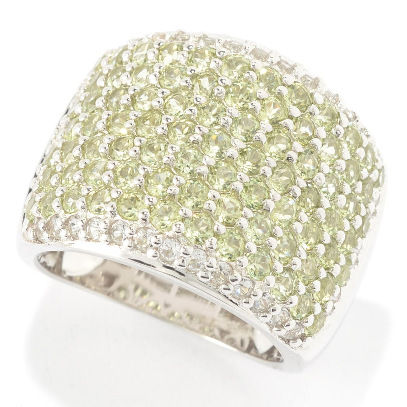 Pinctore Sterling Silver Round Peridot and White Topaz Wide Band Ring - pinctore