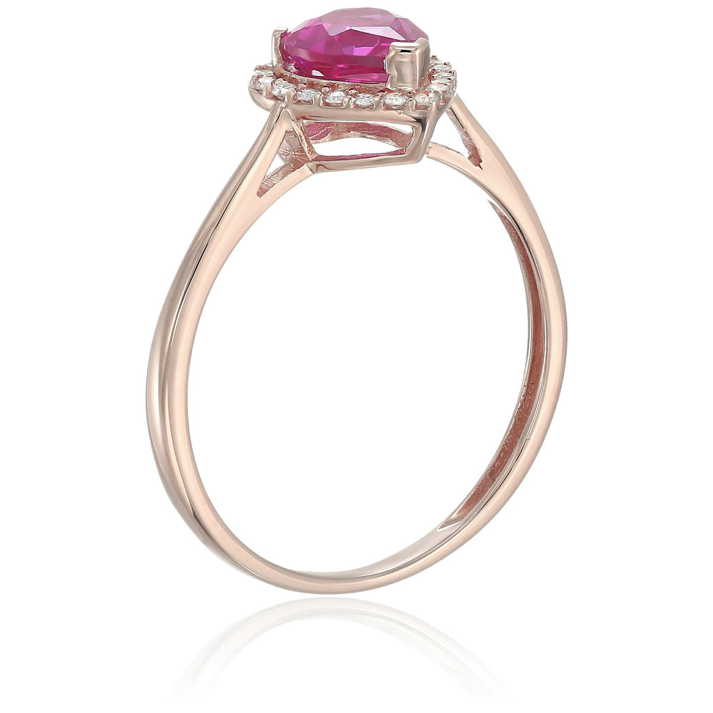 10k Rose Gold Created Ruby And Diamond Solitaire Heart Halo Engagement Ring (1/10cttw, H-I Color, I1-I2 Clarity), - pinctore