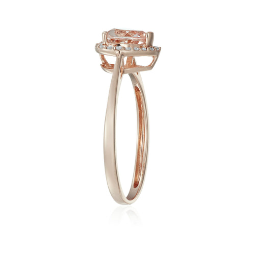 10k Rose Gold Morganite and Diamond Solitaire Heart Halo Engagement Ring (1/10cttw, H-I Color, SI1-SI2 Clarity), - pinctore