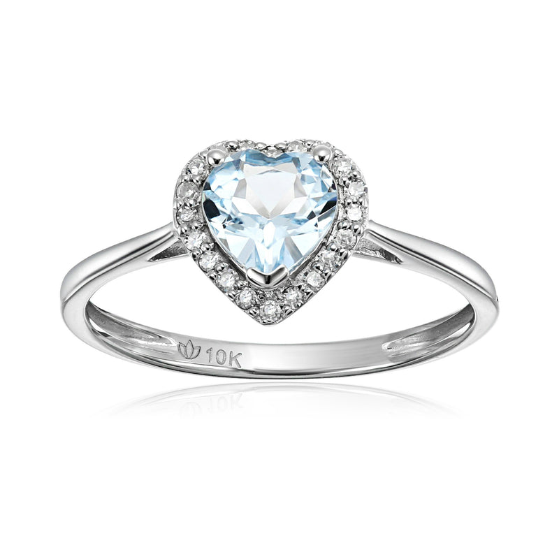 10k White Gold Aquamarine and Diamond Solitaire Heart Halo Engagement Ring (1/10cttw, H-I Color, I1-I2 Clarity), - pinctore
