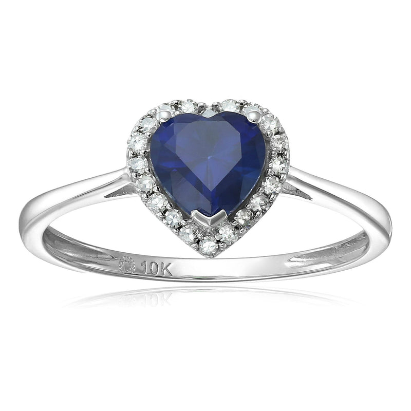 Pinctore 10k White Gold Created Blue Sapphire & Di Solitaire Heart Halo Ring - pinctore