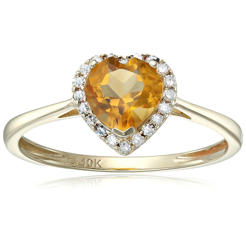 Pinctore 10k Yellow Gold Citrine And Diamond Solitaire Heart Halo Engagement Ring - pinctore