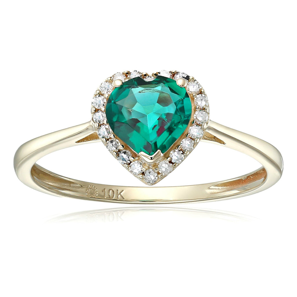 10k Yellow Gold Created Emerald And Diamond Solitaire Heart Halo Engagement Ring (1/10cttw, H-I Color, I1-I2 Clarity), - pinctore