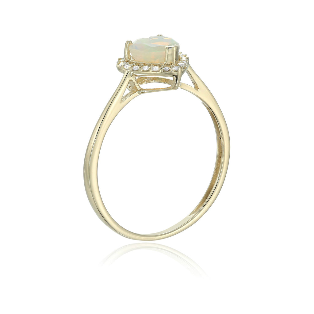 10k Yellow Gold Ethiopian Opal And Diamond Solitaire Heart Halo Engagement Ring (1/10cttw, H-I Color, I1-I2 Clarity), - pinctore