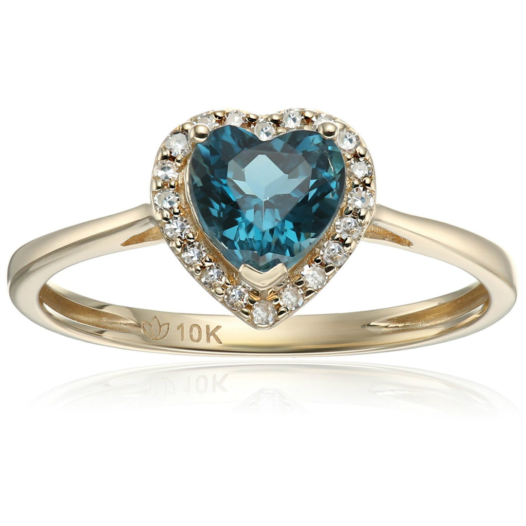 10k Yellow Gold London Blue Topaz and Diamond Solitaire Heart Halo Engagement Ring (1/10cttw, H-I Color, I1-I2 Clarity), - pinctore