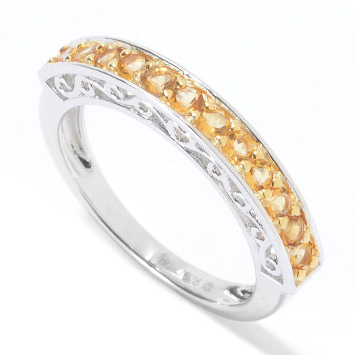 Pinctore Rhodium Over Sterling Silver 0.45ctw Citrine Ring - pinctore