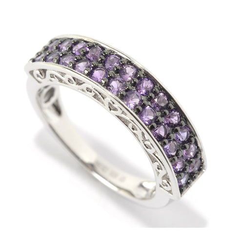 Pinctore Platinum Over Sterling Silver 0.7ctw African Amethyt Band Ring - pinctore