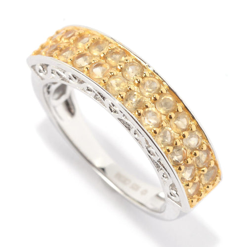 Pinctore Platinum Over Sterling Silver 0.7ctw Citrine Band Ring - pinctore