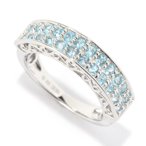 Pinctore Platinum Over Sterling Silver 0.8ctw Swiss Blue Topaz Band Ring - pinctore