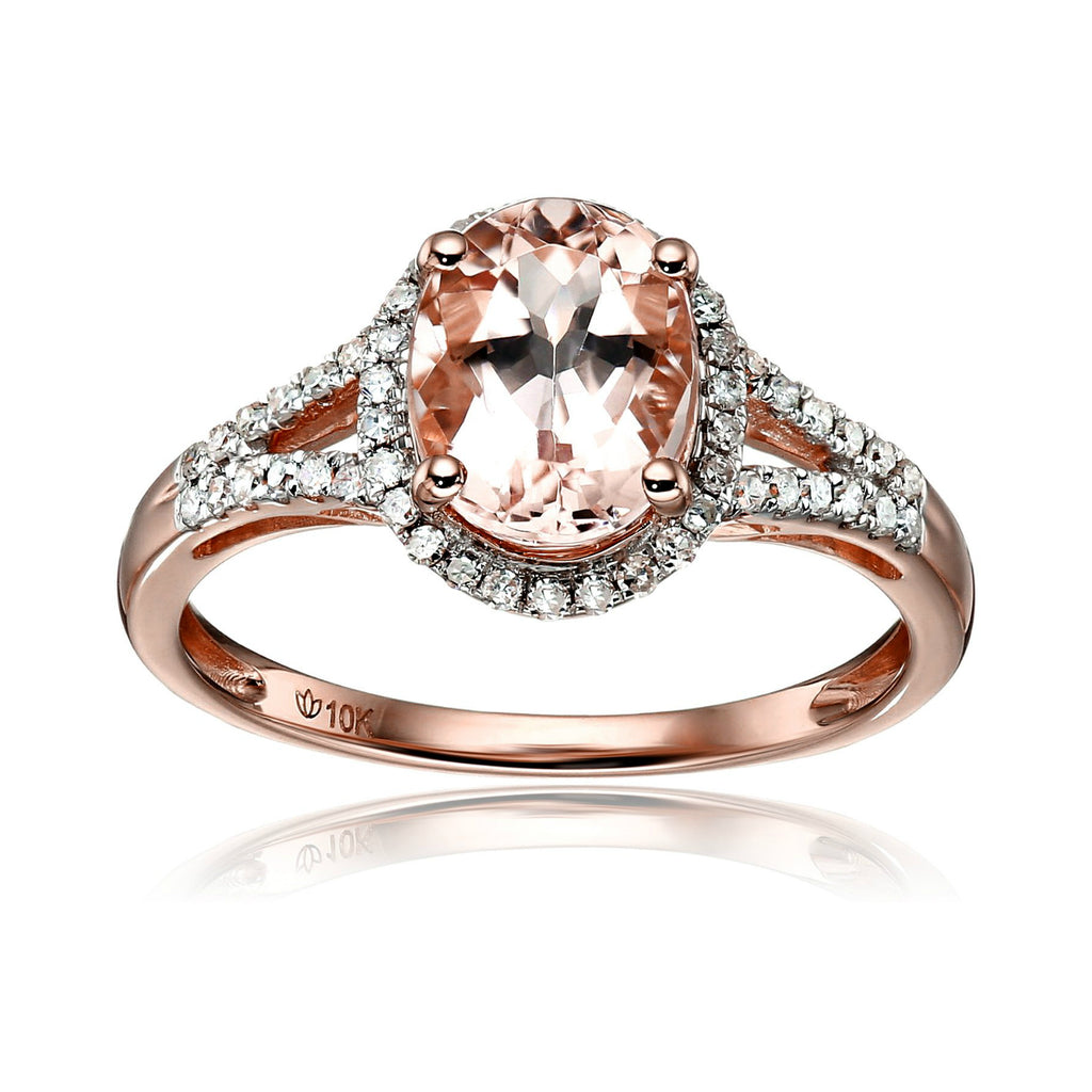 Pinctore 10k Rose Gold Morganite And Diamond Oval Halo Ring (1/5cttw H-I Color, I1-I2 Clarity) - pinctore