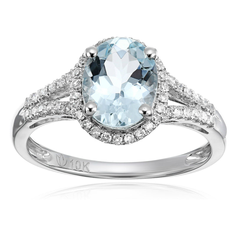 10k White Gold Aquamarine and Diamond Oval Halo Engagement Ring (1/5cttw, H-I Color, I1-I2 Clarity), - pinctore