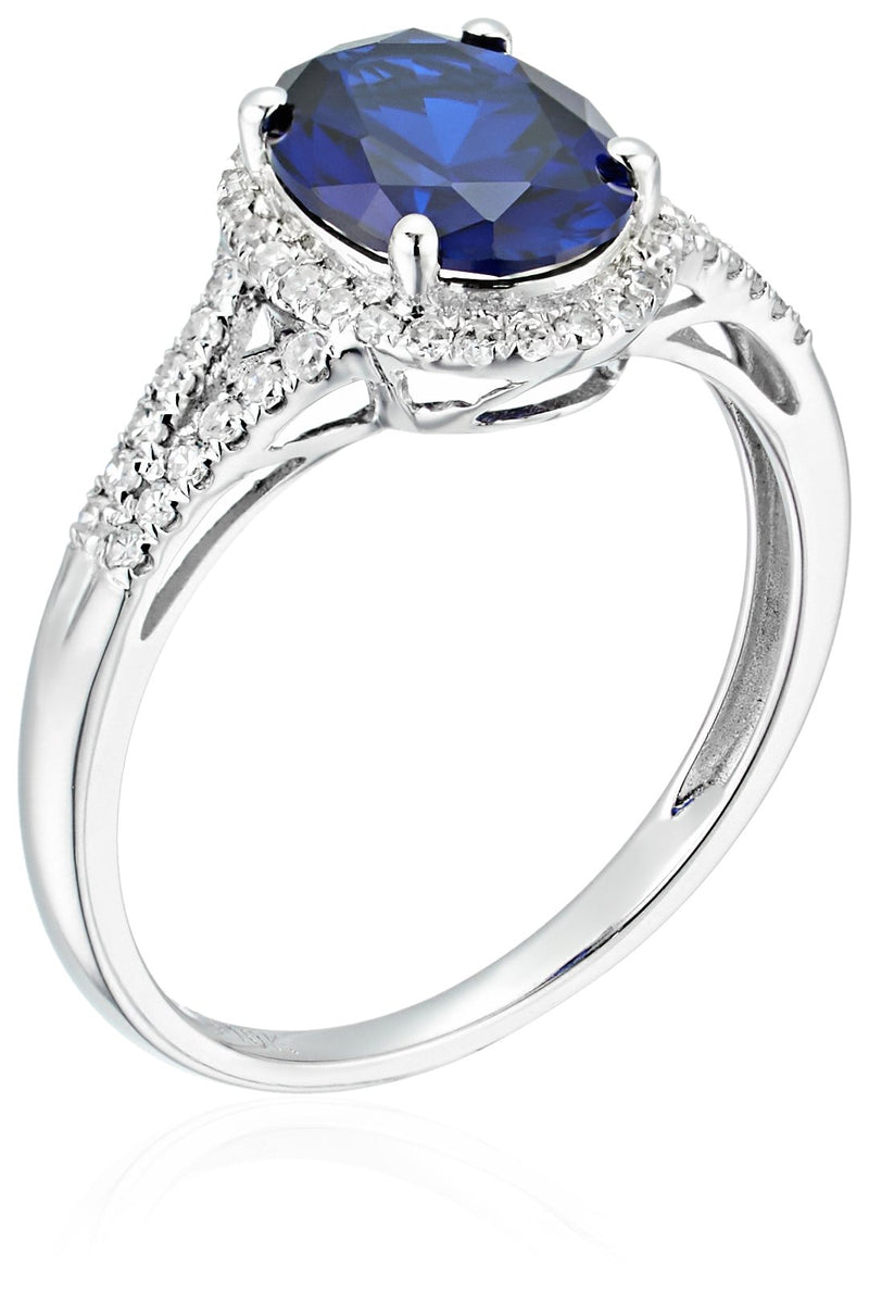 10k White Gold Created Blue Sapphire and Diamond Oval Halo Engagement Ring (1/5cttw, H-I Color, I1-I2 Clarity), - pinctore