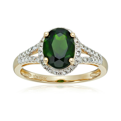 10k Yellow Gold Chrome Diopside and Diamond Oval Halo Engagement Ring (1/5cttw, H-I Color, I1-I2 Clarity), - pinctore