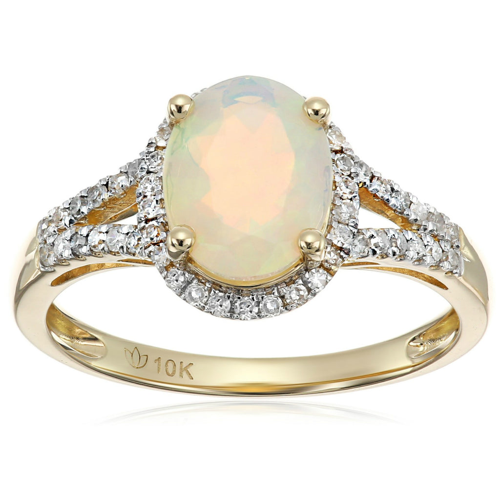 Pinctore 10k Yellow Gold Ethiopian Opal and Diamond Oval Ring - pinctore