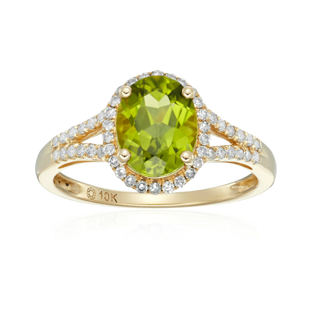 10k Yellow Gold Peridot and Diamond Oval Halo Engagement Ring (1/5cttw, H-I Color, I1-I2 Clarity), - pinctore