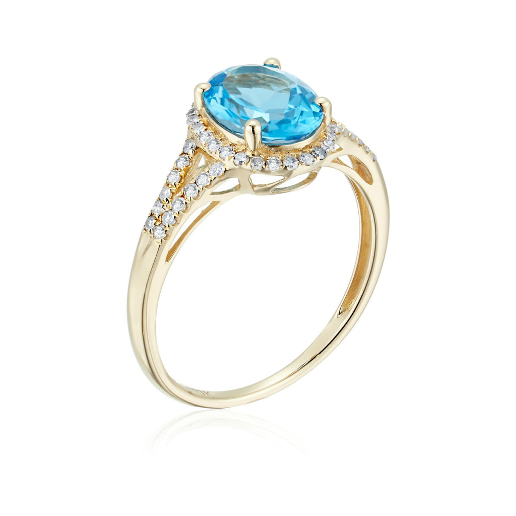 10k Yellow Gold Swiss Blue Topaz and Diamond Oval Halo Engagement Ring (1/5cttw, H-I Color, I1-I2 Clarity), - pinctore