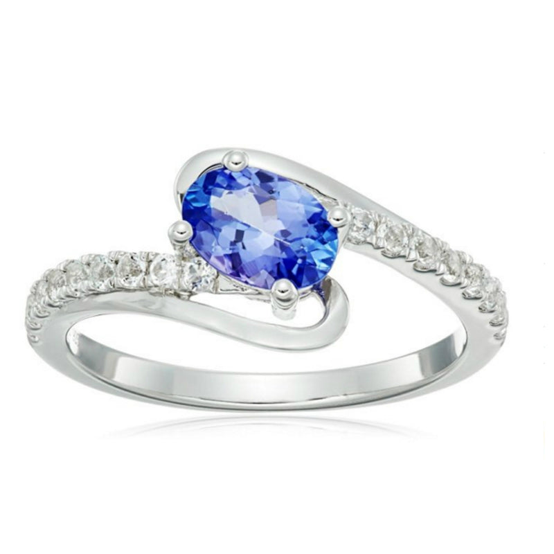 Pinctore Sterling Silver Tanzanite with White Topaz Ring - pinctore