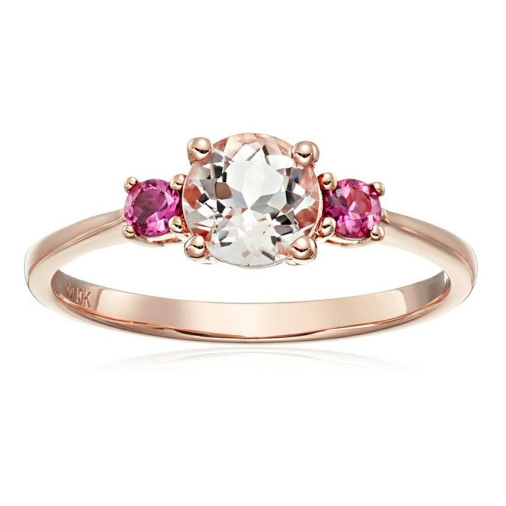 10k Rose Gold Morganite and Pink Tourmaline Solitaire Engagement Ring - pinctore