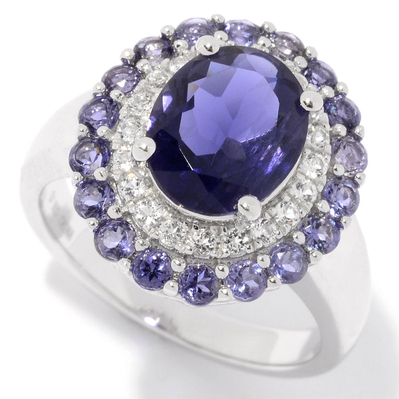 Pinctore Sterling Silver 3.01ctw Iolite & White Topaz Double Halo Ring - pinctore