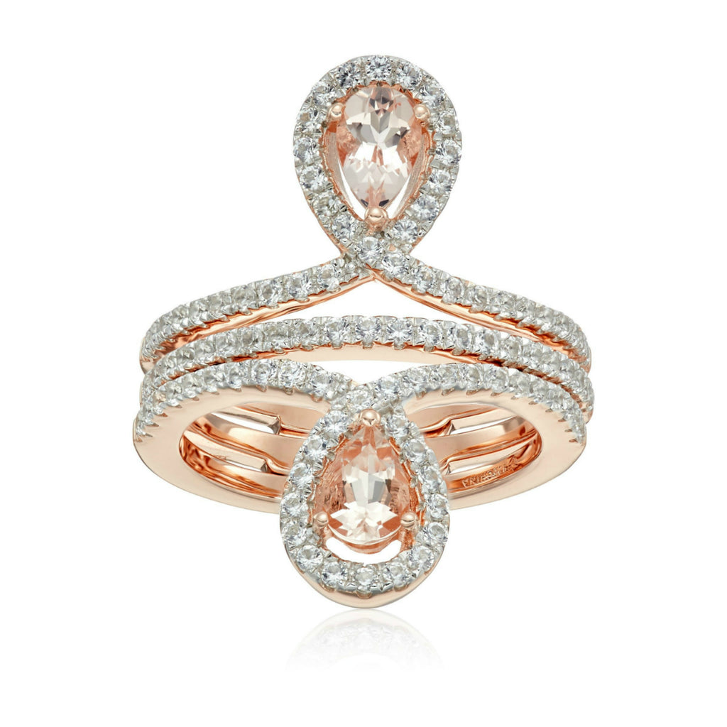 Pinctore Rose Gold-Plated Silver Morganite Created Sapphire Inverted pair Ring - pinctore