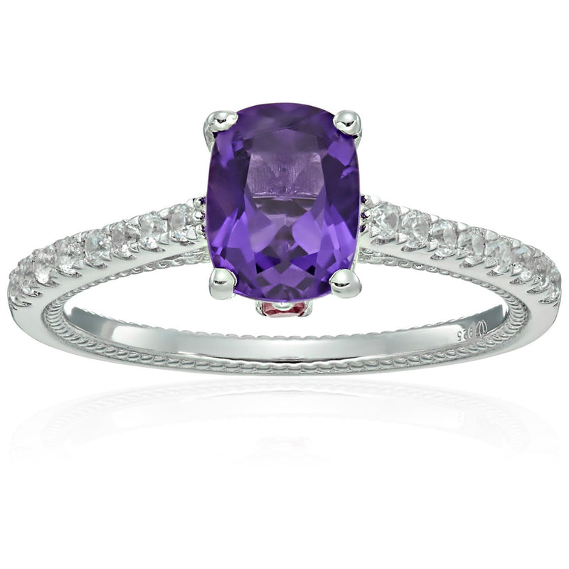Sterling Silver African Amethyst, Pink Tourmaline And Natural White Zircon Cushion Solitaire Engagement Ring - pinctore