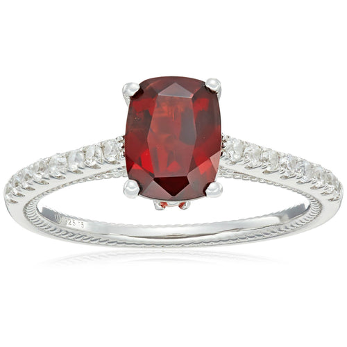 Sterling Silver Red Garnet, Orange Sapphire And Natural White Zircon Cushion Solitaire Engagement Ring - pinctore