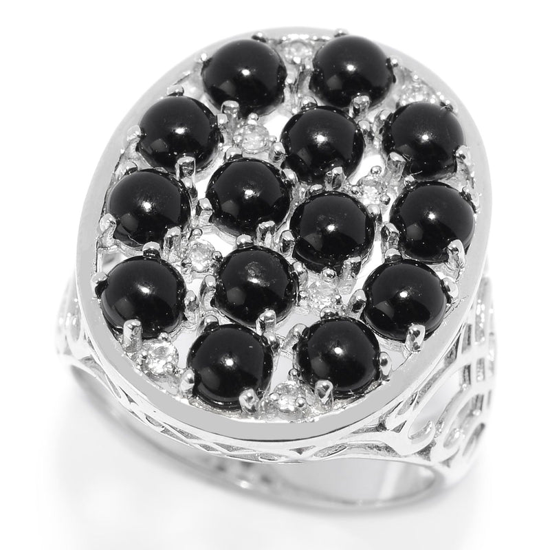 Pinctore Sterling Silver Black Onyx & White Topaz Oval Shaped Ring - pinctore