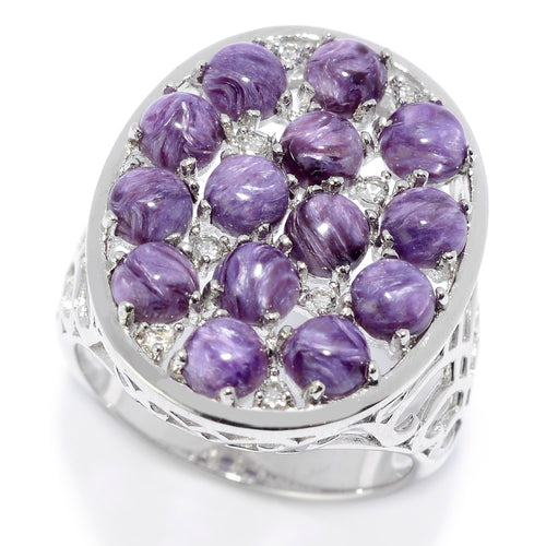 Pinctore Sterling Silver Charoite & White Topaz Oval Shaped Ring - pinctore