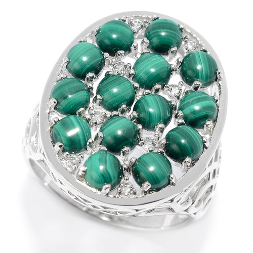 Pinctore Sterling Silver Malachite & White Topaz Oval Shaped Ring - pinctore