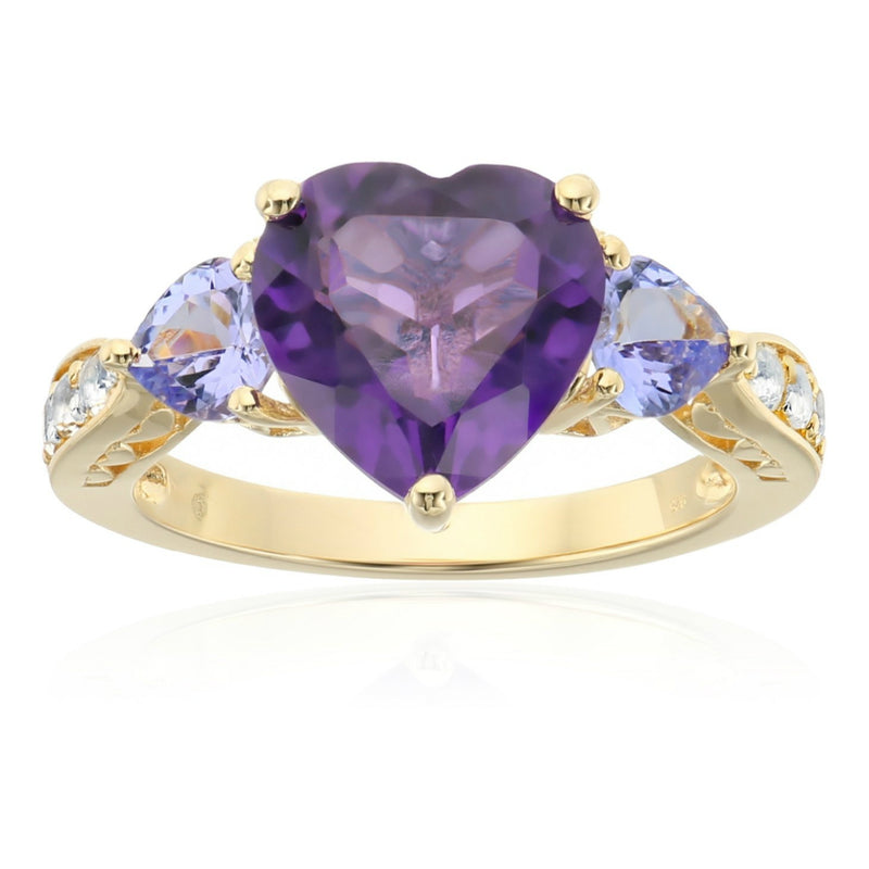 Pinctore Yellow Gold-Plated Silver Amethyst, Tanzanite 3-stone Heart Ring - pinctore