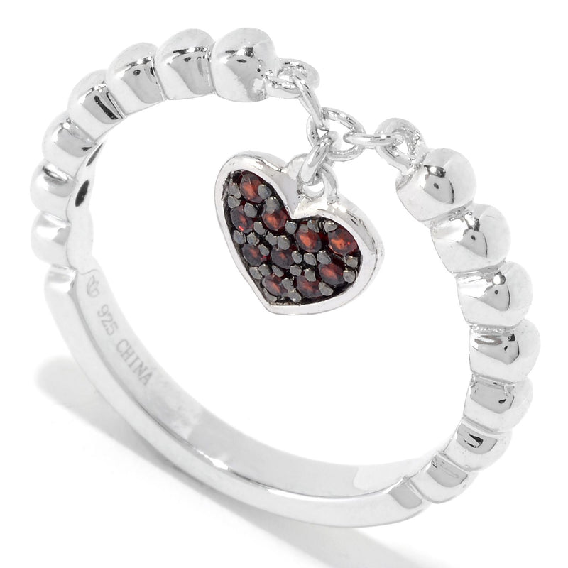 Pinctore Sterling Silver Round Red Garnet Dangle Charm Stack Band Ring - pinctore