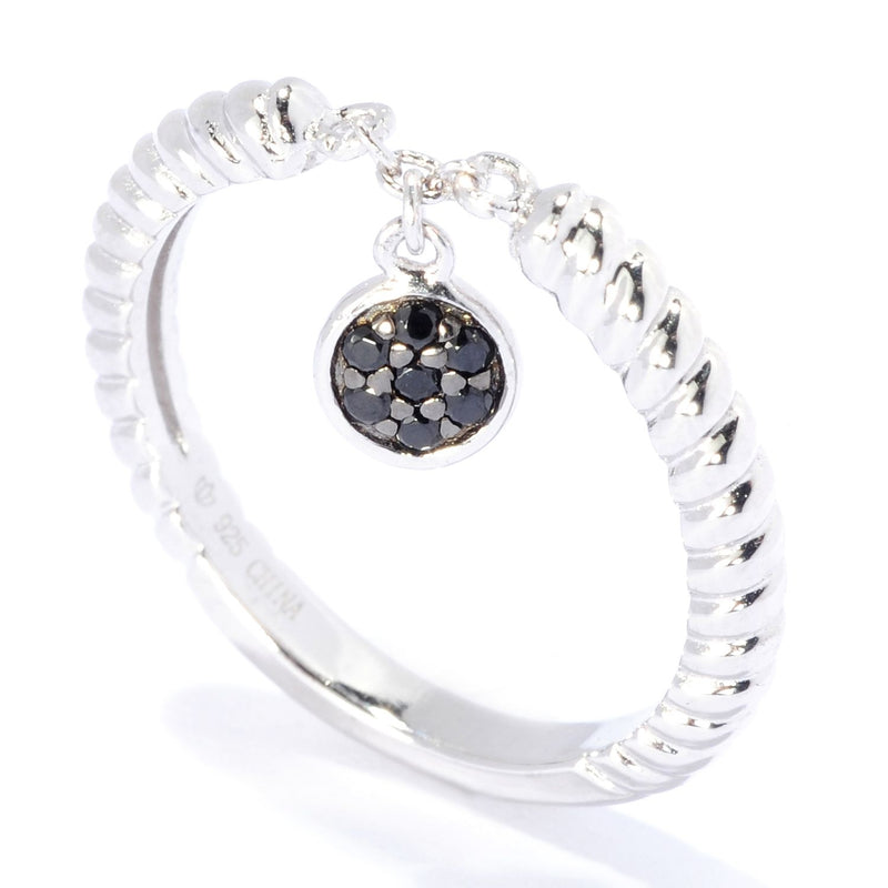 Pinctore Sterling Silver Round Black Spinel Dangle Charm Stack Band Ring - pinctore