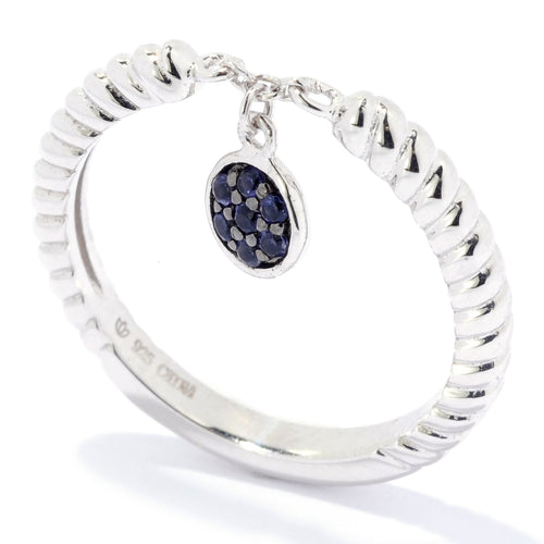 Pinctore Sterling Silver Round Iolite Dangle Charm Stack Band Ring - pinctore