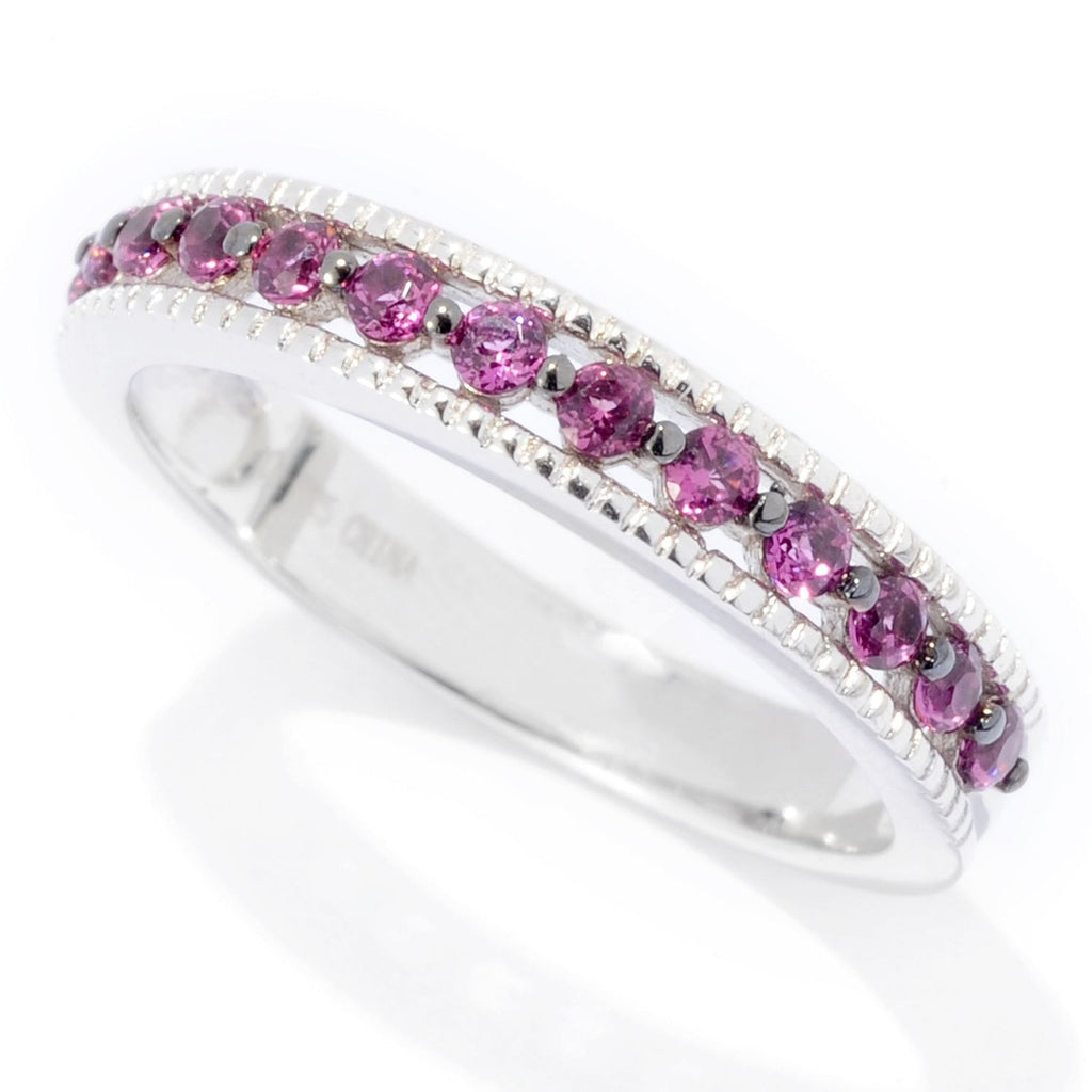 Pinctore Rhodium Over Sterling Silver 0.4ctw Rhodolite Band Ring - pinctore
