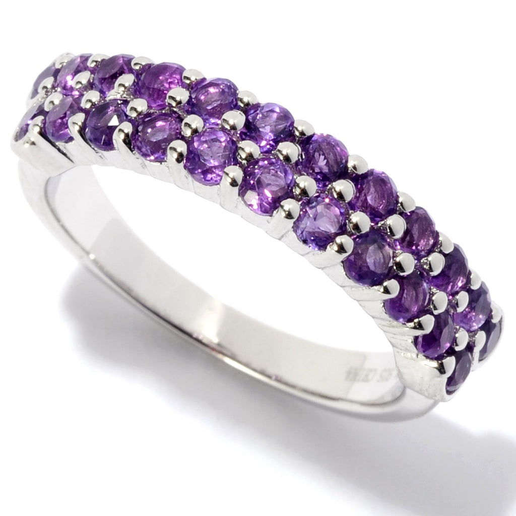Pinctore Rhodium Over Sterling Silver 1ctw African Amethyst Band Ring - pinctore