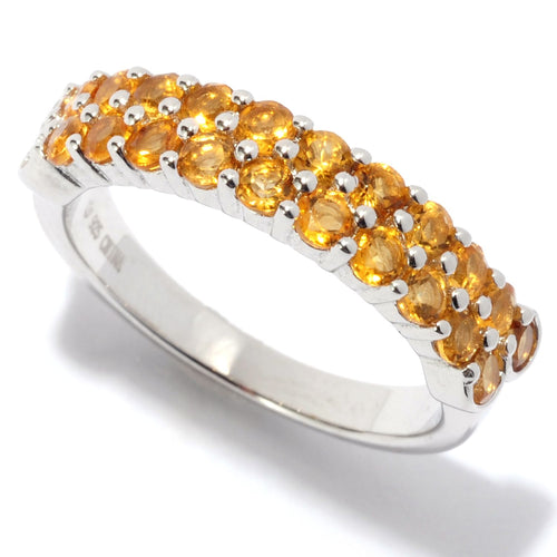 Pinctore Rhodium Over Sterling Silver 0.98ctw Citrine Band Ring - pinctore