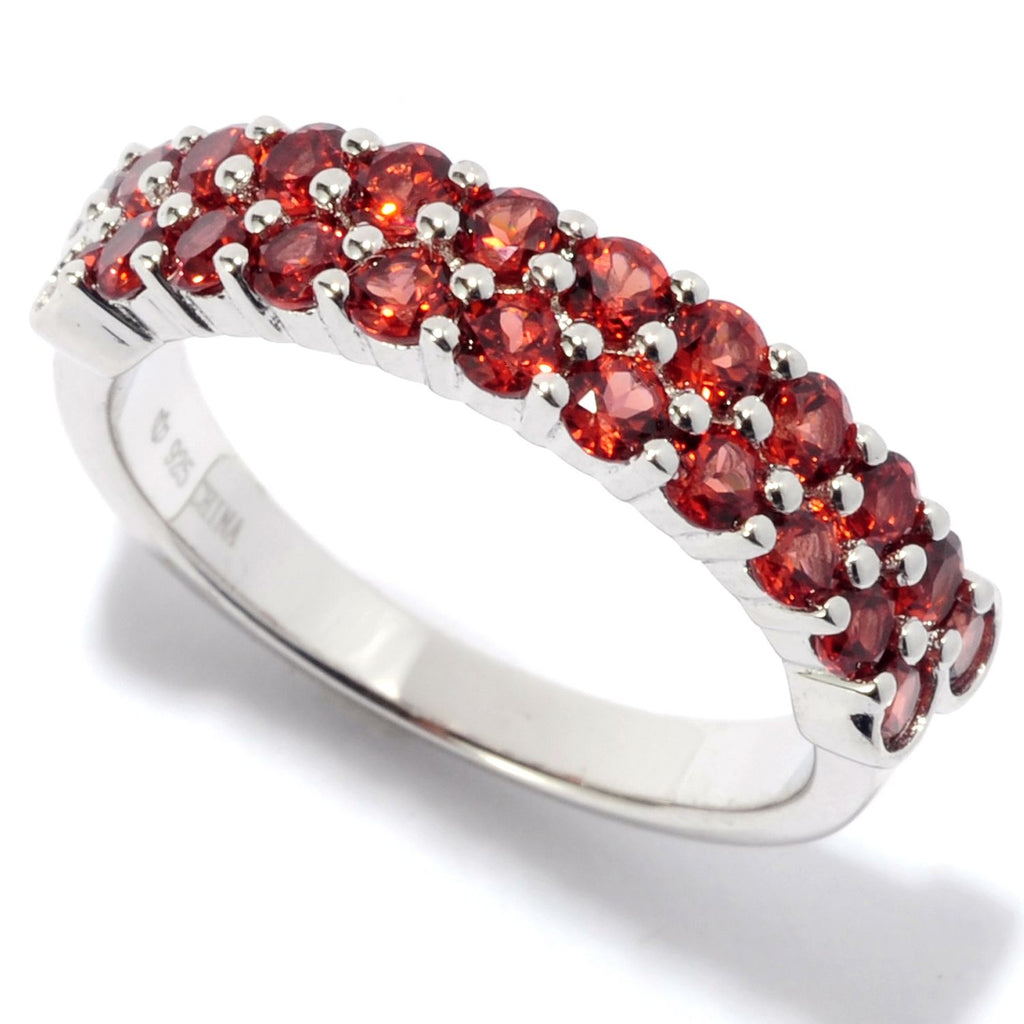 Pinctore Rhodium Over Sterling Silver 1.4ctw Red Garnet Band Ring - pinctore