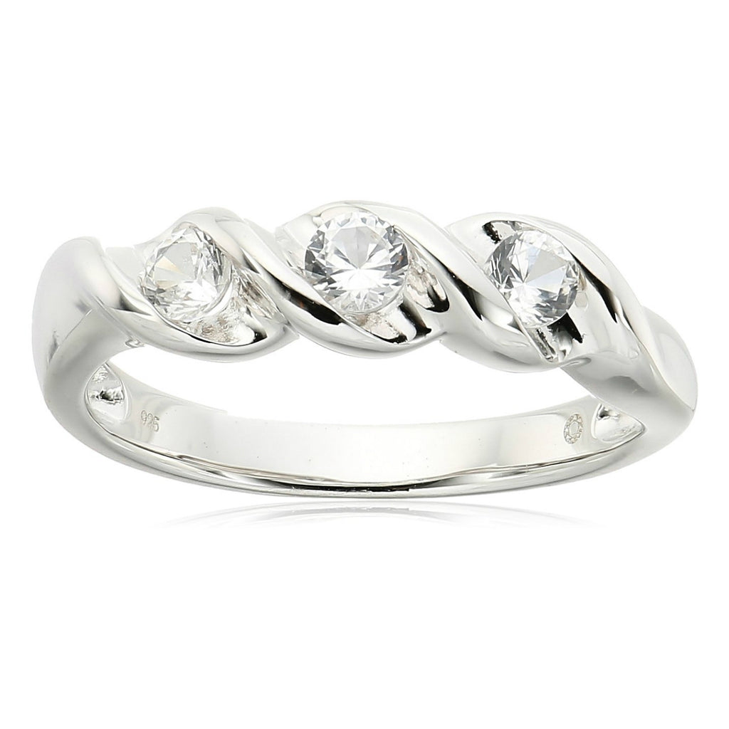 Sterling Silver Created White Sapphire 3-stone Stackable Ring - pinctore