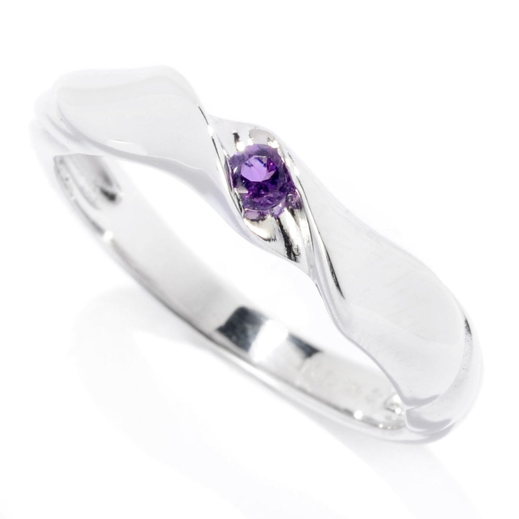 Pinctore Sterling Silver 2.5mm Round 0.06ctw African Amethyst Stack Band Ring - pinctore