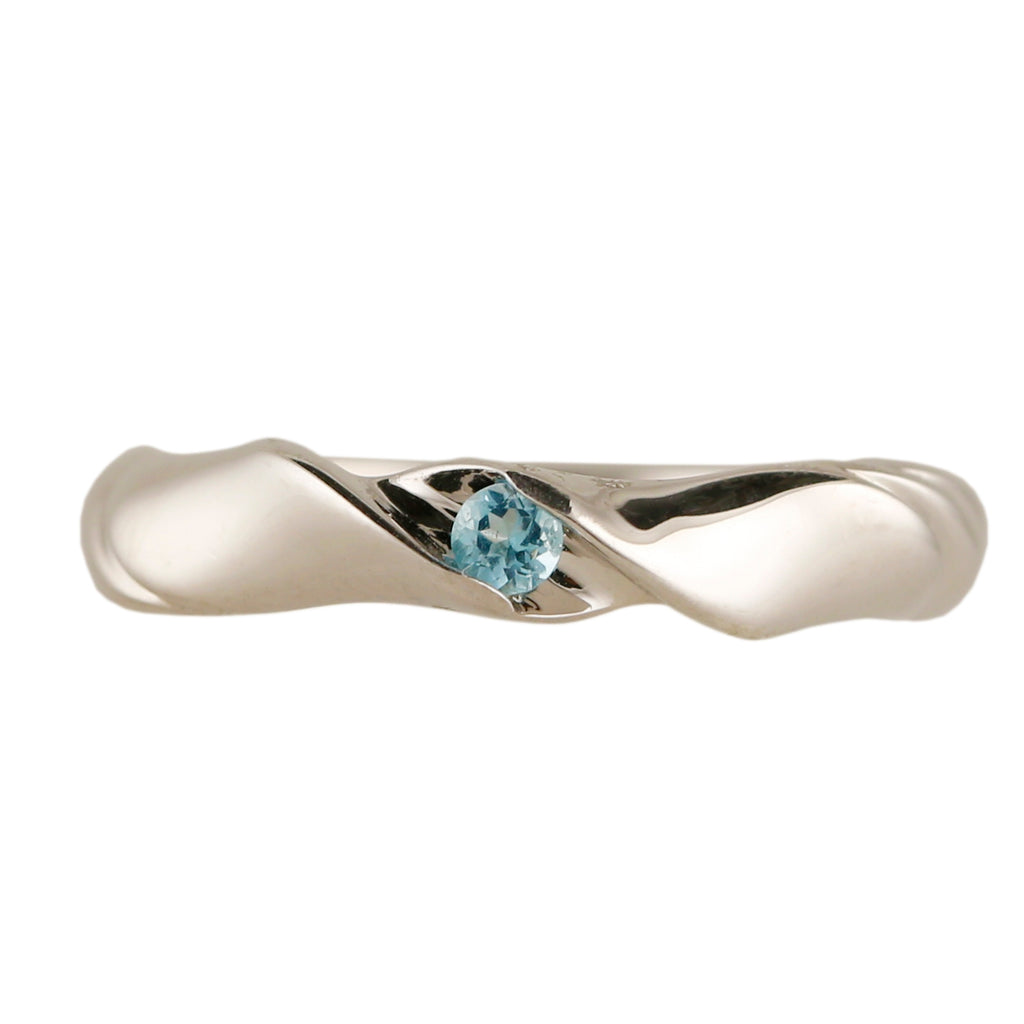 Pinctore Sterling Silver 2.5mm Round 0.08ctw Blue Topaz Stack Band Ring - pinctore