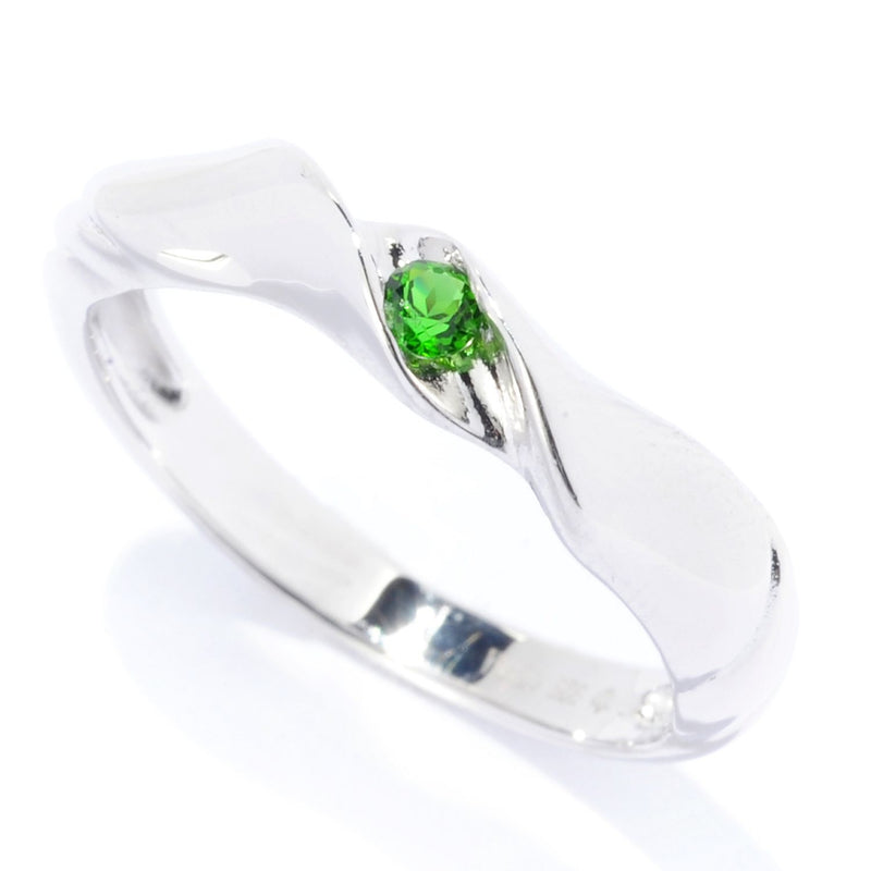 Pinctore Sterling Silver 2.5mm Round 0.07ctw Chrome Diopside Stack Band Ring - pinctore