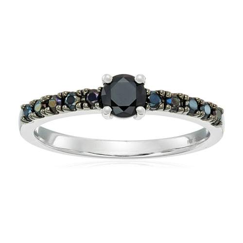 Sterling Silver Black Spinel Stackable Ring - pinctore