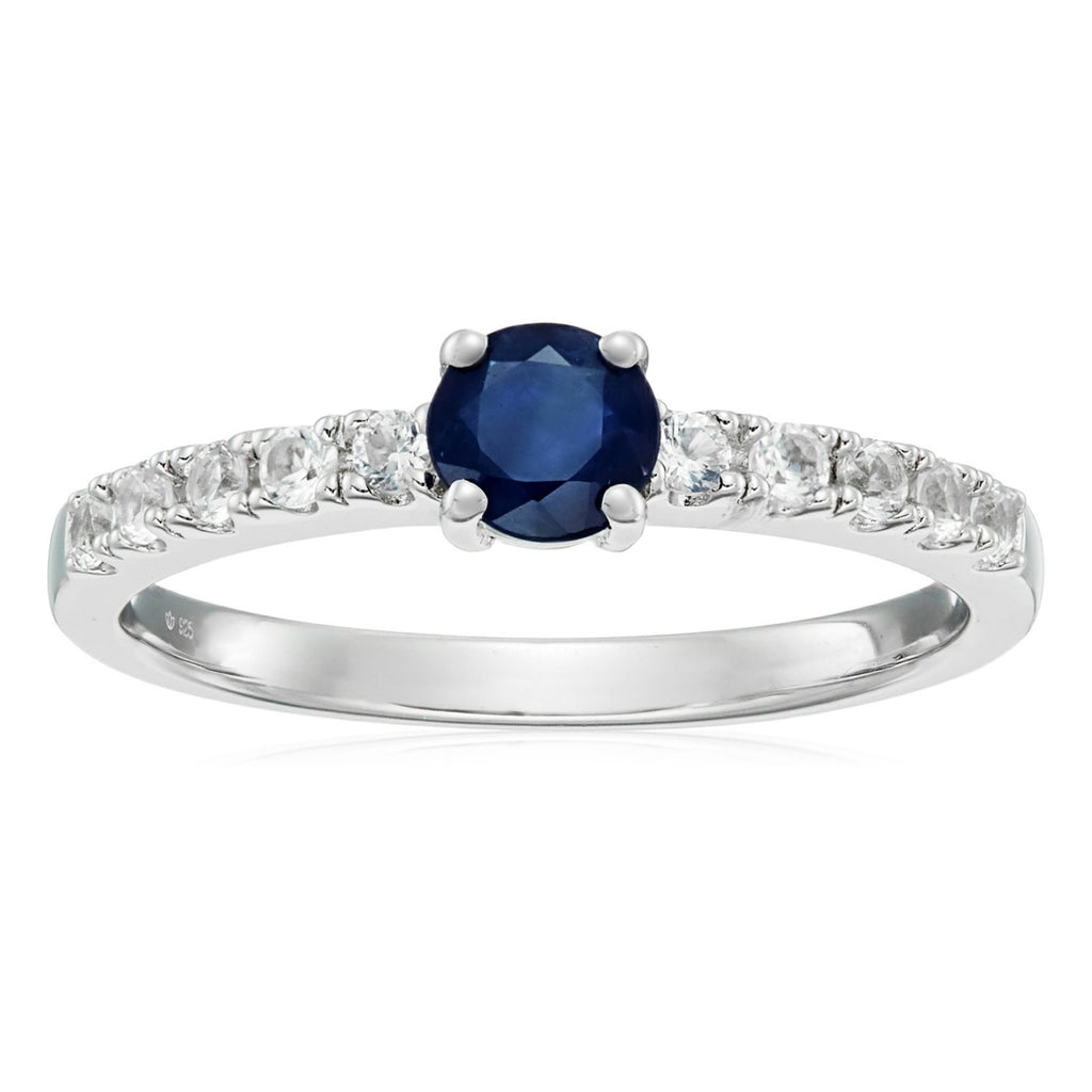 Sterling Silver Genuine Blue Sapphire And Created White Sapphire Stackable Ring - pinctore