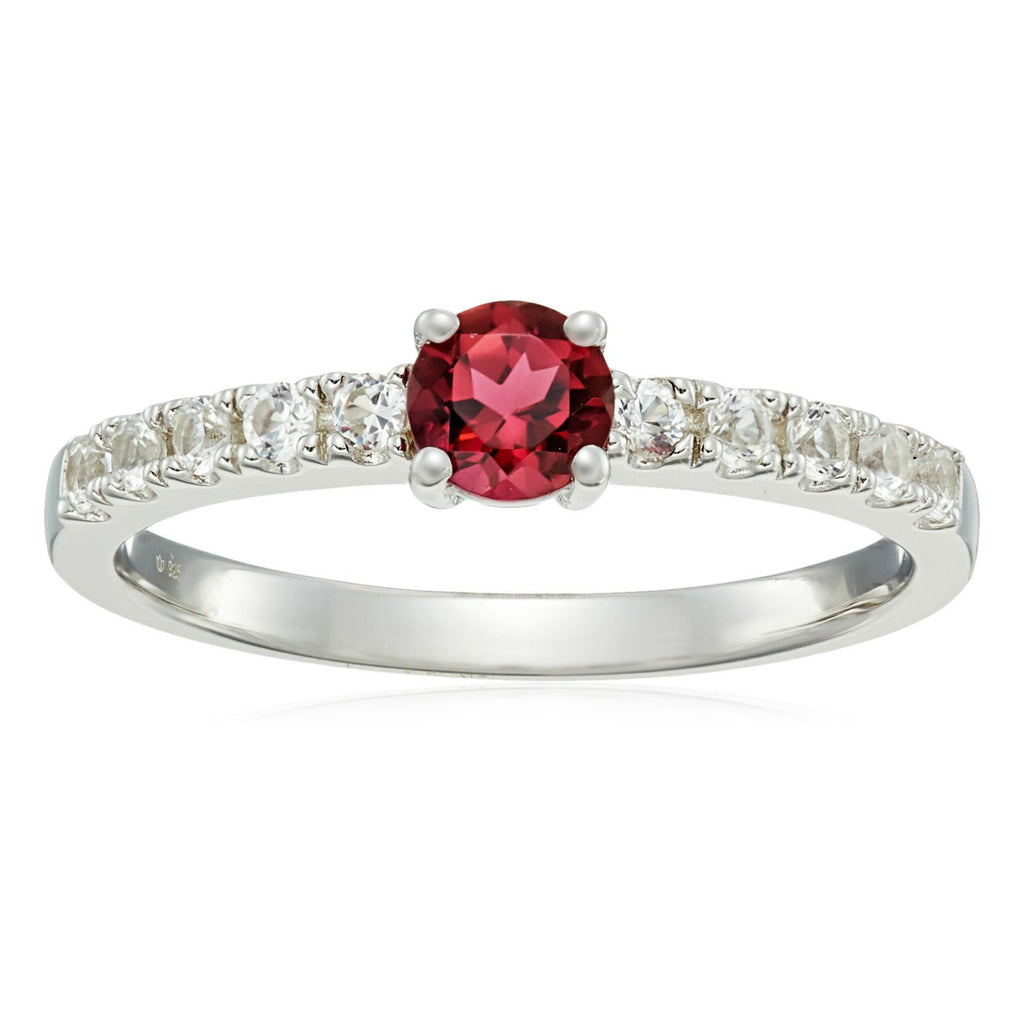 Sterling Silver Pink Tourmaline And Created White Sapphire Stackable Ring - pinctore
