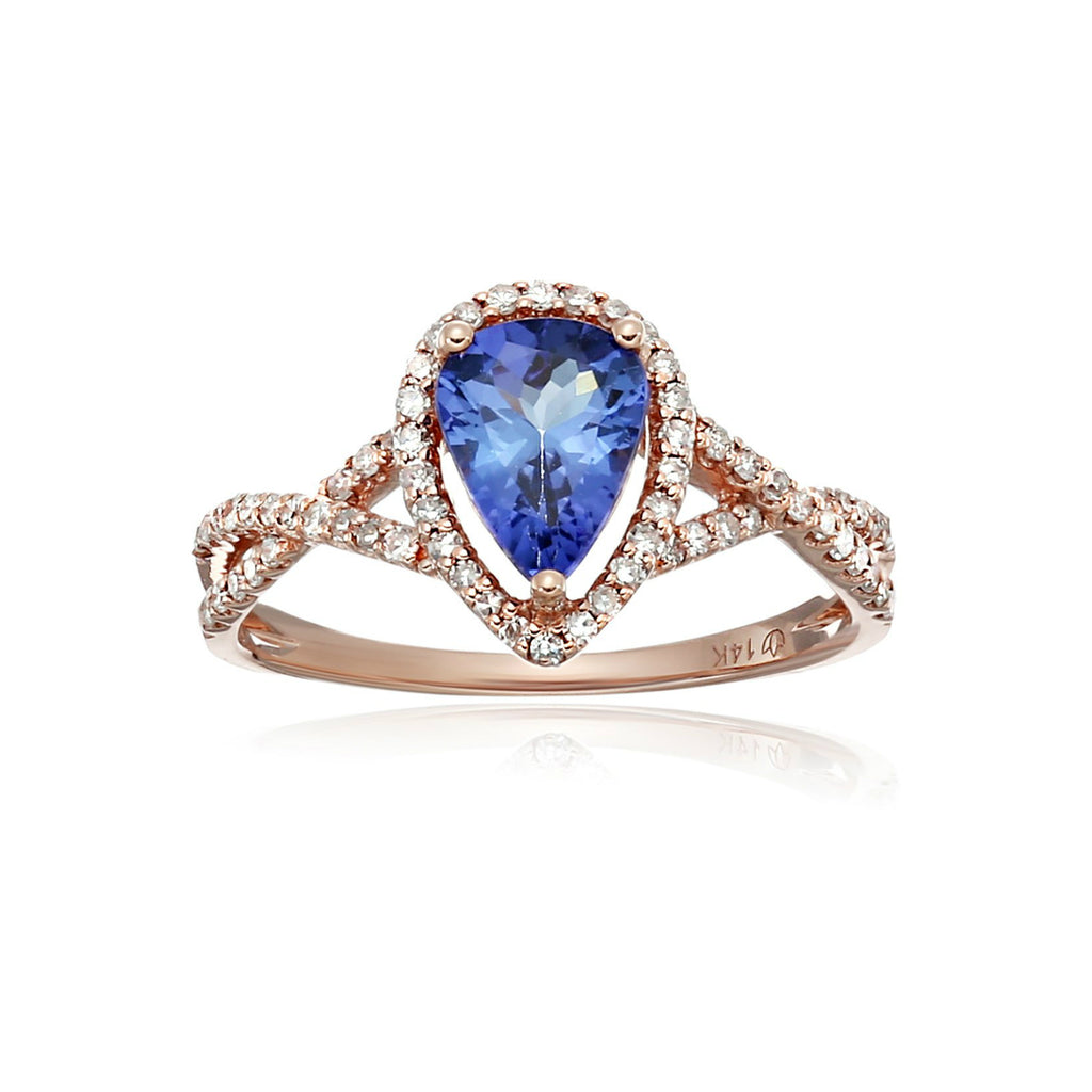 Pinctore 14k Rose Gold Tanzanite and Diamond Solitaire Engagement Ring - pinctore